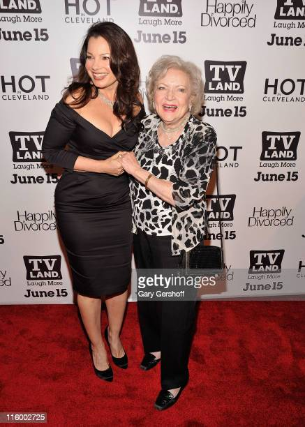 """Actors Fran Drescher and Betty White attend the TV Land """"Hot In Cleveland"""" and """"Happily Divorced"""" premiere partyat Asellina at the Gansevoort on June..."""