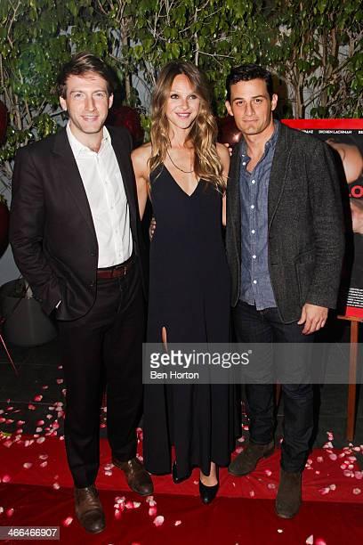 Actors Fran Kranz Beau Garrett and Enver Gjokaj attend the Lust For Love Los Angeles premiere at Harmony Gold Theatre on February 1 2014 in Los...
