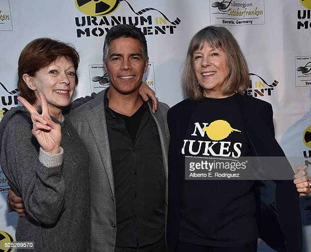Actors Frances Fisher Esai Morales and Mimi Kennedy attend the Atomic Age Cinema Fest Premiere of 'The Man Who Saved The World' at Raleigh Studios on...