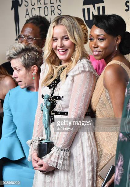 Actors Frances McDormand Abbie Cornish and Amanda Warren pose in the press room during the 24th Annual Screen ActorsGuild Awards at The Shrine...