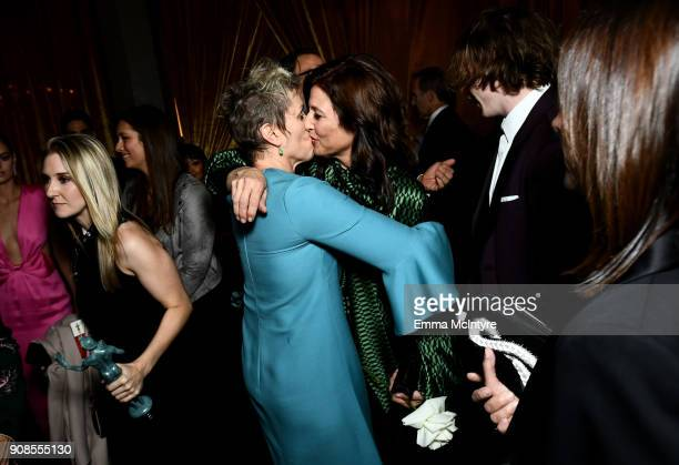 Actors Frances McDormand and Catherine Keener attend the 24th Annual Screen Actors Guild Awards at The Shrine Auditorium on January 21 2018 in Los...