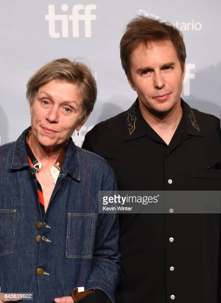 Actors Frances McDormand and Sam Rockwell attend 'Three Billboards Outside Of Ebbing Missouri' press conference during 2017 Toronto International...