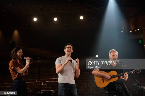 Actors Frances McNamee Oliver Savile and Sting perform at a sneak peek event for The Last Ship at Center Theatre Group/Ahmanson Theatre on March 26...