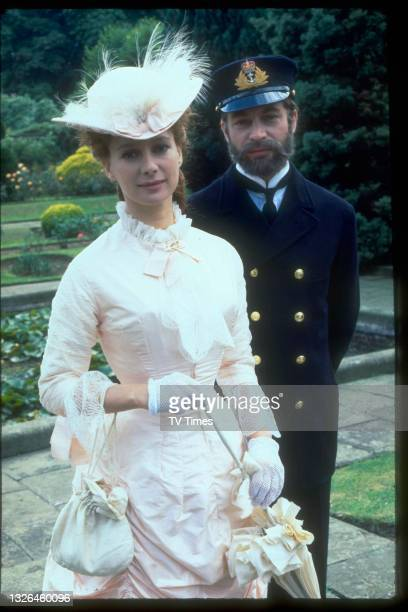 Actors Francesca Annis and John Castle in character as Lillie Langtry and Prince Louis in period drama Lillie, circa 1978.