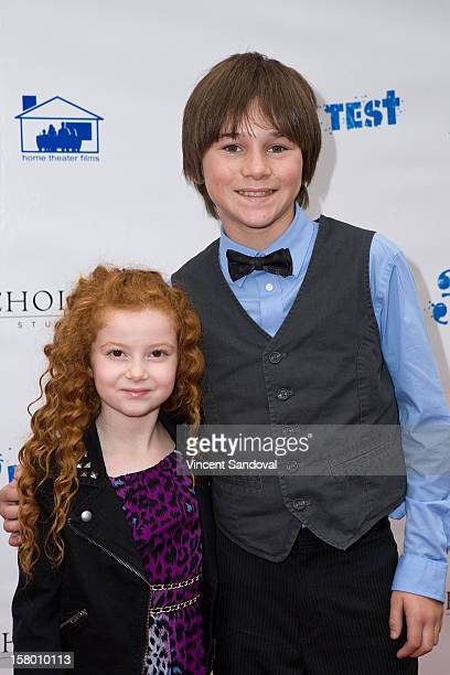 Actors Francesca Capaldi and Aidan Potter attend the Los Angeles Premiere of '3 Day Test' at Downtown Independent Theatre on December 8 2012 in Los...