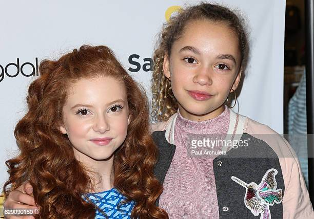 Actors Francesca Capaldi and Jillian Shea Spaeder attend the 'Shop With The Stars' event at Bloomingdale's on December 10 2016 in Century City...