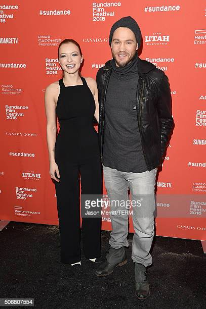 Actors Francesca Eastwood and Chad Michael Murray attend the Outlaws Angels Premiere during the 2016 Sundance Film Festival at Library Center Theater...
