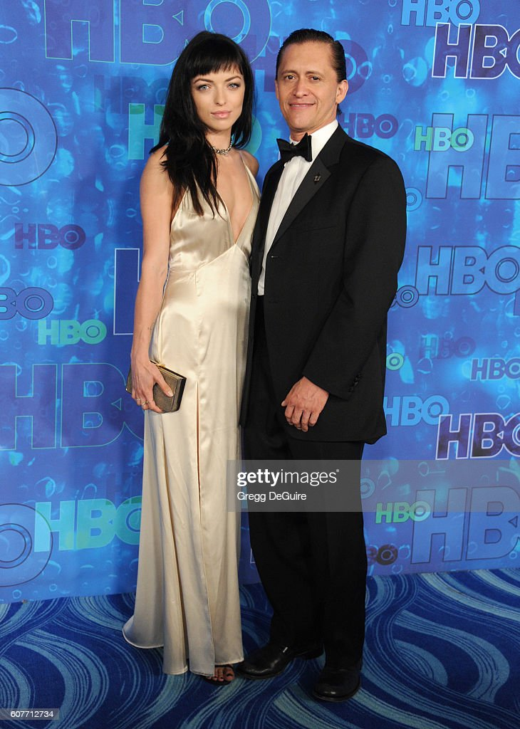 Actors Francesca Eastwood and Clifton Collins Jr. arrive at HBO's Post Emmy Awards Reception at The Plaza at the Pacific Design Center on September 18, 2016 in Los Angeles, California.
