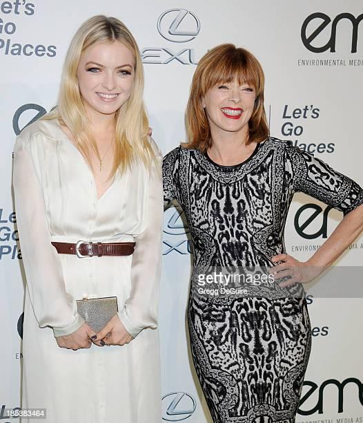 Actors Francesca Eastwood and mom Frances Fisher arrive at the 2013 Environmental Media Awards at Warner Bros Studios on October 19 2013 in Burbank...