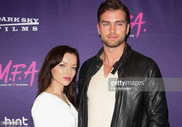 Actors Francesca Eastwood and Pierson Fode attend the premiere of Dark Sky Films' 'MFA' at The London West Hollywood on October 2 2017 in West...