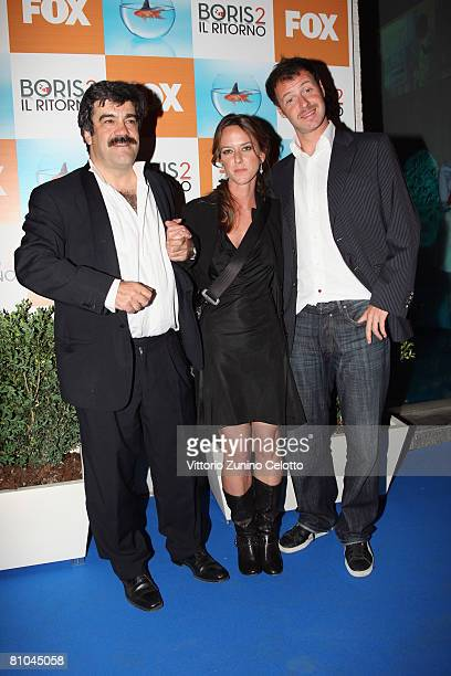 Actors Francesco Pannofino Caterina Guzzanti and Pietro Sermonti attend the 'Boris 2' Party Launch Organized By Fox TV on May 09 2008 in Milan Italy