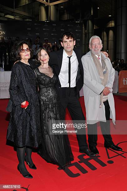 Actors Francine Racette Celina Sinden Rossif Sutherland and Donald Sutherland attend the Hyena Road premiere during the 2015 Toronto International...
