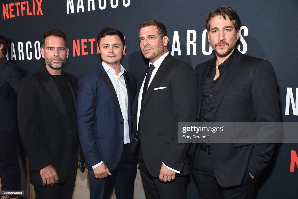 Actors Francisco Denis, Arturo Castro, Pepe Rapazote and Alberto Ammann attends the 'Narcos' Season 3 New York screening at AMC Loews Lincoln Square 13 theater on August 21, 2017 in New York City.