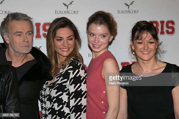 Actors Franck Dubosc Ariane Brodier guest and Anne Girouard attend the 'Bis' Premiere at Cinema Gaumont Capucine on February 10 2015 in Paris France