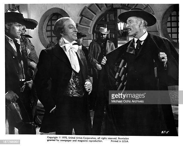 """Actors Franco Ressel and Lee Van Cleef on set of the United Artist movie """"Sabata"""" in 1969."""