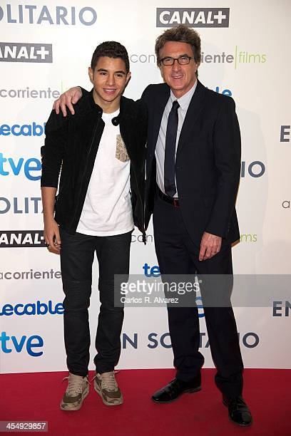 Actors Francois Cluzet and Samy Seghir attend the 'En Solitaire' premiere at the Palafox cinema on December 10 2013 in Madrid Spain