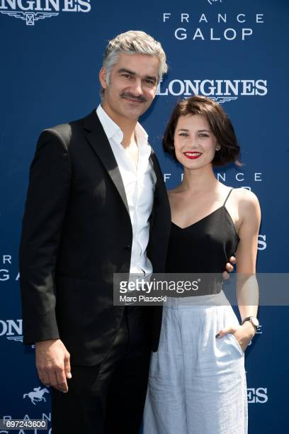 Actors Francois Vincentelli and Alice Dufour attend the 'Prix de Diane Longines 2017' on June 18 2017 in Chantilly France