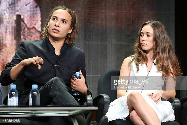 Actors Frank Dillane and Alycia DebnamCarey speak onstage during the 'Fear the Walking Dead' panel discussion at the AMC/IFC Networks portion of the...