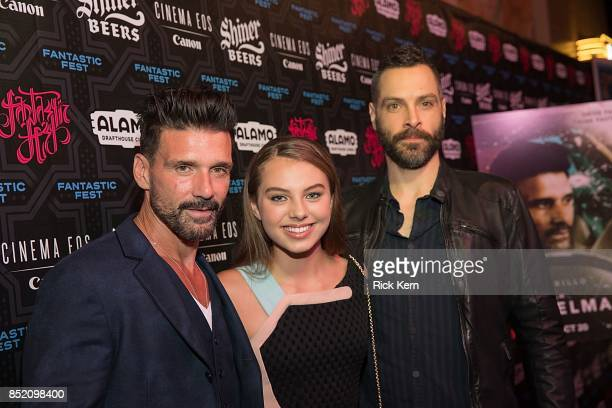 Actors Frank Grillo Caitlin Carmichael and director Jeremy Rush at the Netflix Films Wheelman Premier at Fantastic Fest at the Alamo Drafthouse on...