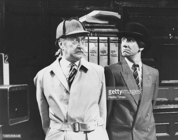 Actors Frank Thornton and Mike Berry in a scene from episode 'The Hold Up' of the television sitcom 'Are You Being Served' June 17th 1984