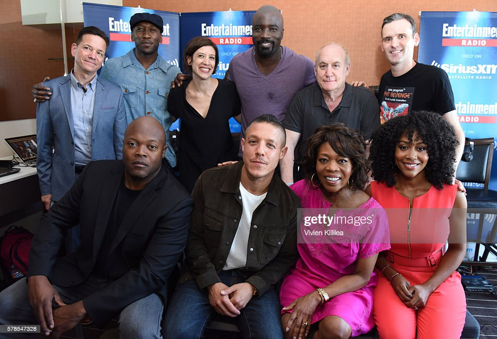 Actors Frank Whaley and Mahershala Ali, radio personality Jessica Shaw, actor Mike Colter, executive producer Jeph Loeb, actor Theo Rossi, radio personality Dalton Ross; executive producer Cheo Hodari Coker and actresses Alfre Woodard and Simone Missick attend SiriusXM's Entertainment Weekly Radio Channel Broadcasts From Comic-Con 2016 at Hard Rock Hotel San Diego on July 21, 2016 in San Diego, California.