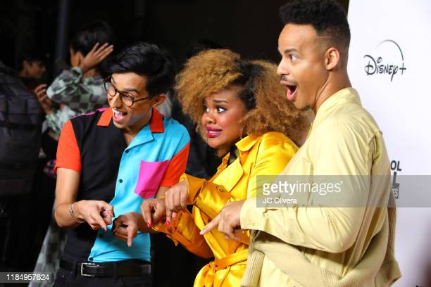 Actors Frankie Rodriguez Dara Renee and Mark St Cyr attend the premiere of Disney's 'High School Musical The Musical The Series' at Walt Disney...