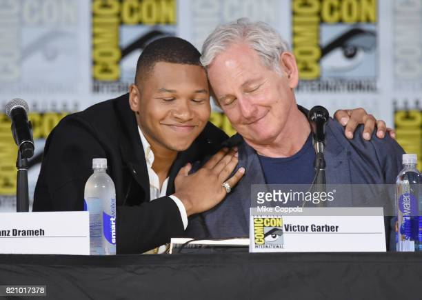 Actors Franz Drameh and Victor Garber attend DC's 'Legends Of Tomorrow' special video presentation and QA during ComicCon International 2017 at San...