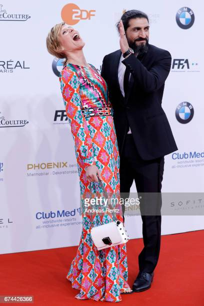 Actors Franziska Weisz and Numan Acar attend the Lola German Film Award red carpet at Messe Berlin on April 28 2017 in Berlin Germany