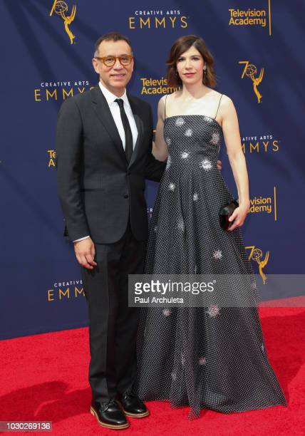 Actors Fred Armisen and Carrie Brownstein attend the 2018 Creative Arts Emmy Awards Day 2 at the Microsoft Theater on September 9 2018 in Los Angeles...