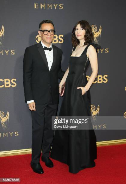 Actors Fred Armisen and Carrie Brownstein attend the 69th Annual Primetime Emmy Awards at Microsoft Theater on September 17 2017 in Los Angeles...