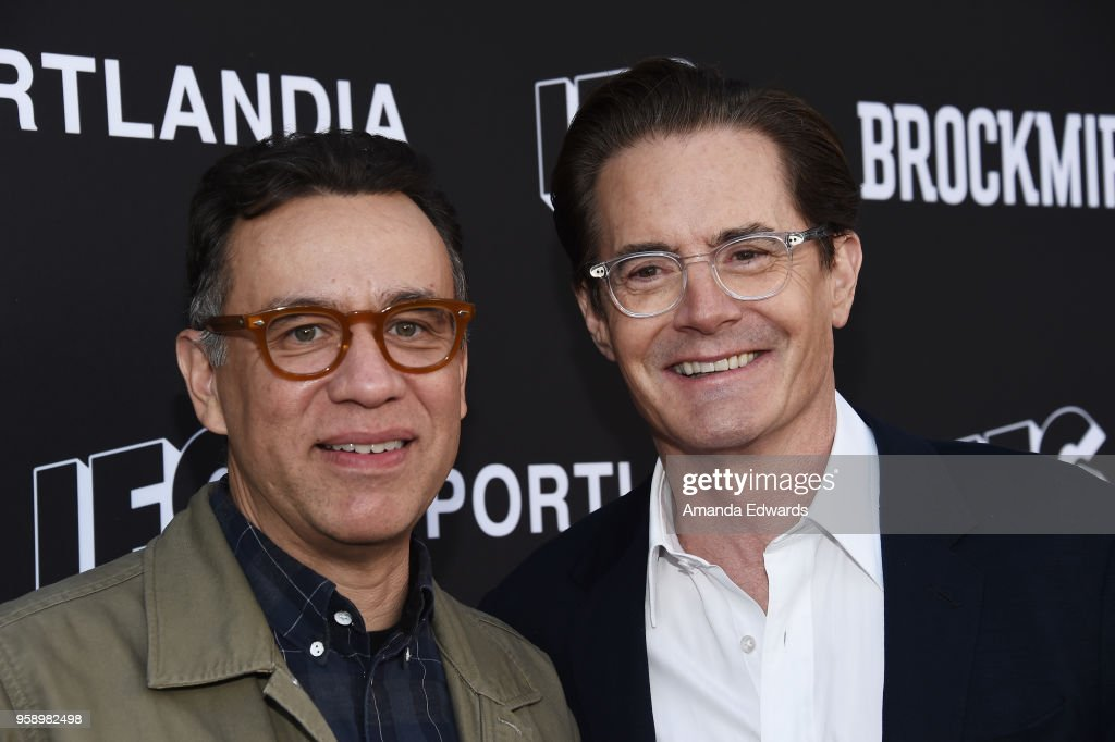 Actors Fred Armisen (L) and Kyle MacLachlan arrive at IFC 's 'Brockmire' and 'Portlandia' EMMY FYC red carpet event at the Saban Media Center on May 15, 2018 in North Hollywood, California.