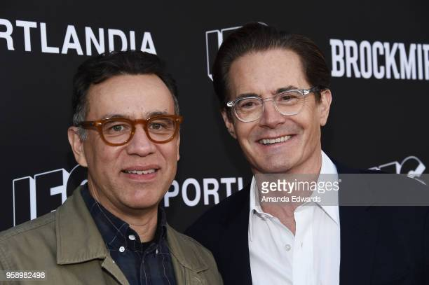 Actors Fred Armisen and Kyle MacLachlan arrive at IFC 's 'Brockmire' and 'Portlandia' EMMY FYC red carpet event at the Saban Media Center on May 15...