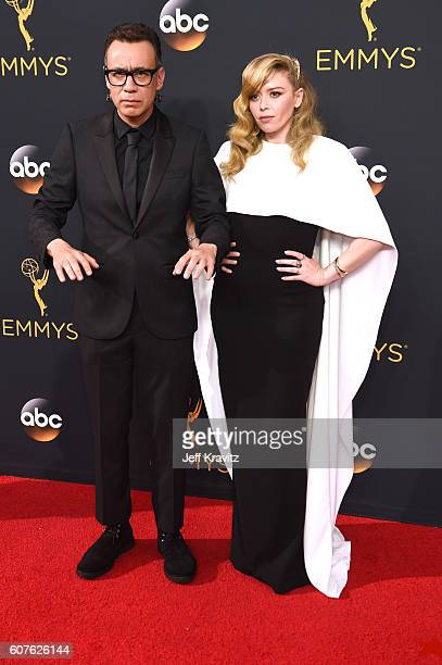 Actors Fred Armisen and Natasha Lyonne attend the 68th Annual Primetime Emmy Awards at Microsoft Theater on September 18, 2016 in Los Angeles,...