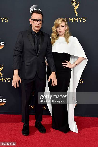 Actors Fred Armisen and Natasha Lyonne attend the 68th Annual Primetime Emmy Awards at Microsoft Theater on September 18 2016 in Los Angeles...