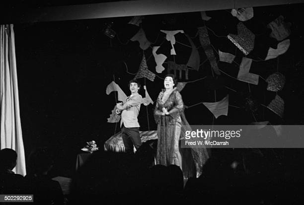 Actors Fred Herko and Gretel Cummings perform onstage in the Judson Poets' Theatre production of Rosalyn Drexler's 'Home Movies' at the Provincetown...