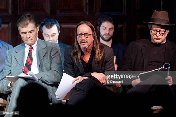 Actors Fred Willard Lenny Ciotti Ted Zurkowski Ross Beshear and Darrell Hammond perform on stage at the allstar reading of Hamlet at The Players Club...