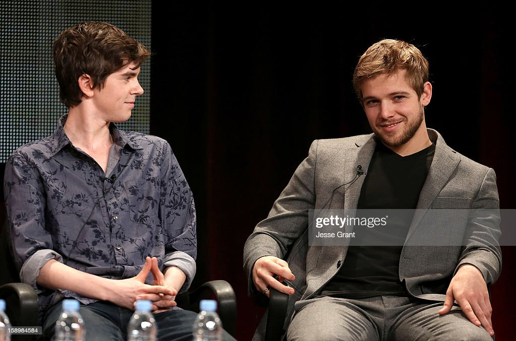 Actors Freddie Highmore and Max Thieriot attend A&E's 'Bates Motel' TCA Panel at the Langham Hotel on January 4, 2013 in Pasadena, California.