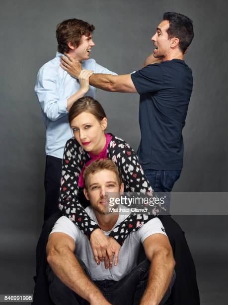 Actors Freddie Highmore Nestor Carbonell Vera Farmiga and Max Thieriot from 'Bates Motel' are photographed for Entertainment Weekly Magazine on July...