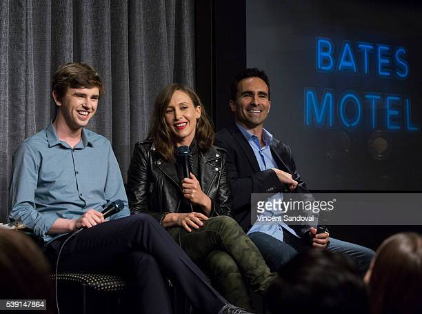 Actors Freddie Highmore Vera Farmiga and Nestor Carbonell attend SAGAFTRA Foundation Conversations for 'Bates Motel' at SAGAFTRA Foundation on June 9...