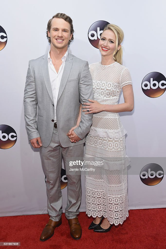 Actors Freddie Stroma and Johanna Braddy attend the 2016 ABC Upfront at David Geffen Hall on May 17, 2016 in New York City.