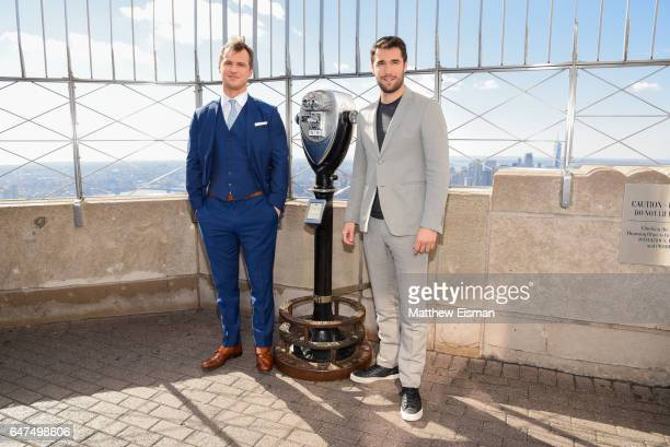 Actors Freddie Stroma and Josh Bowman of ABC's 'Time After Time' visit The Empire State Building on March 3 2017 in New York City