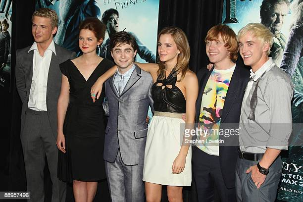 Actors Freddie Stroma Bonnie Wright Daniel Radcliffe Emma Watson Rupert Grint and Tom Felton attend the Harry Potter and the HalfBlood Prince...