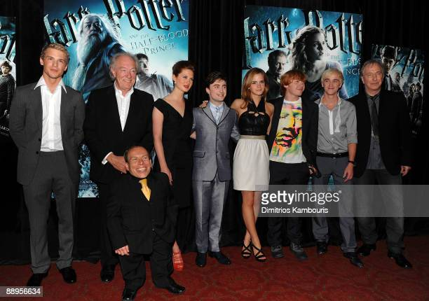 Actors Freddie Stroma Michael Gambon Warwick Davis Bonnie Wright Daniel Radcliffe Emma Watson Rupert Grint and Tom Felton attend the 'Harry Potter...