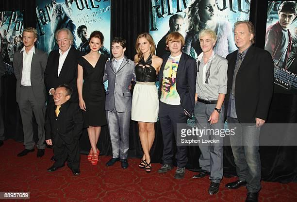 Actors Freddie Stroma Michael Gambon Warwick Davis Bonnie Wright Daniel Radcliffe Emma Watson Rupert Grint Tom Felton and Alan Rickman attend the...
