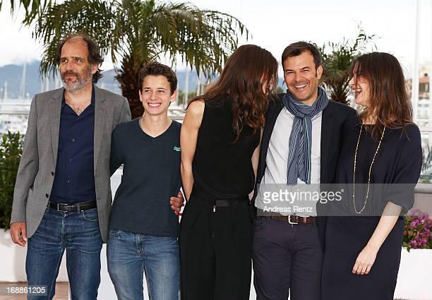 Actors Frederic Pierrot Fantin Ravat actress Marine Vacth Director Francois Ozon and actress Geraldine Pailhas attend the 'Jeune Jolie' Photocall...