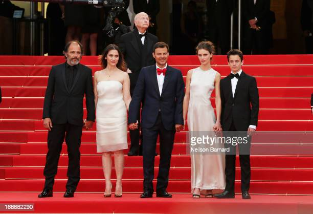 Actors Frederic Pierrot Geraldine Pailhas director Francois Ozon actors Marine Vactha and Fantin Ravat attend the Premiere of 'Jeune Jolie' at The...