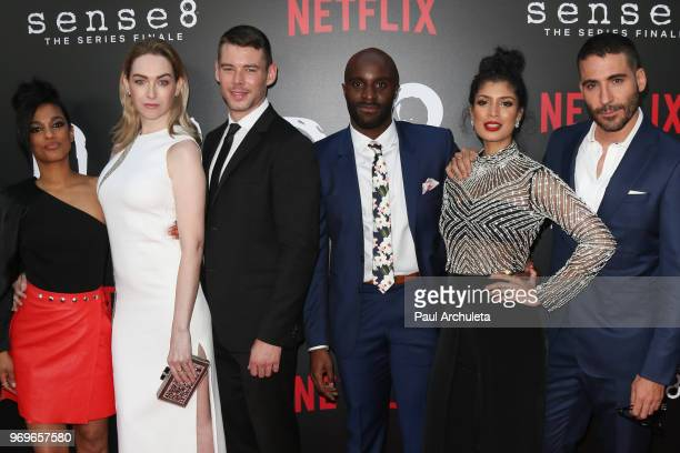 Actors Freema Agyema Jamie Clayton Brian J Smith Toby Onwumere Tina Desai and Miguel çngel Silvestre attend Netflix's Sense8 series finale event at...