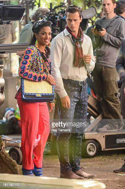 Actors Freema Agyeman and Jake Robinson film a scene at 'The Carrie Diaries' movie set at the Lower East Side on September 19 2013 in New York City