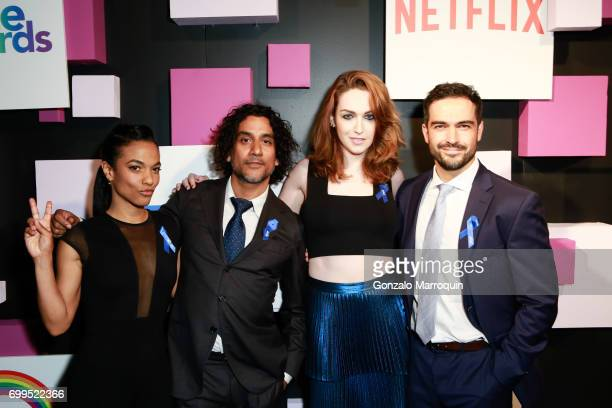 Actors Freema Agyeman Naveen Andrews Jamie Clayton and Alfonso Herrera from Sense 8 attend the 2017 Village Voice Pride Awards at Capitale on June 21...