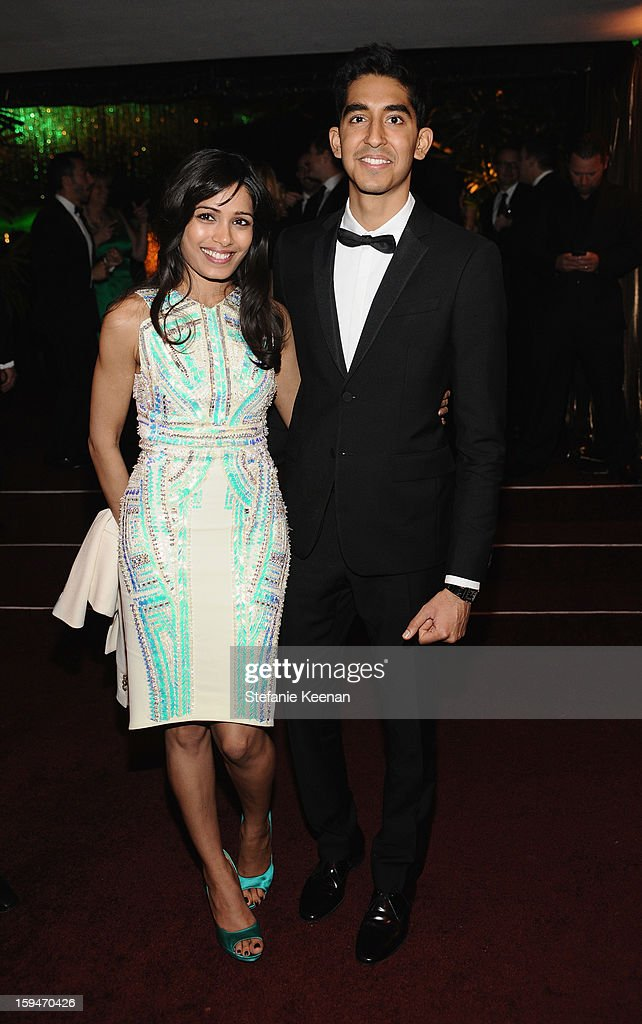 Actors Freida Pinto and Dev Patel attend the 2013 InStyle and Warner Bros. 70th Annual Golden Globe Awards Post-Party held at the Oasis Courtyard in The Beverly Hilton Hotel on January 13, 2013 in Beverly Hills, California.